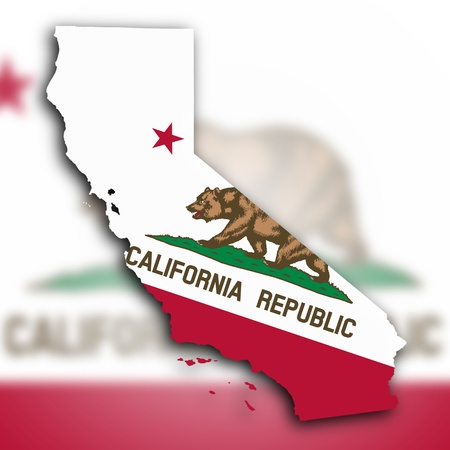 Map of California, filled with the state flag photo