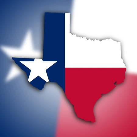 Map of Texas, filled with the state flag photo