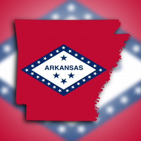 arkansas state map: Map of Arkansas, filled with the state flag