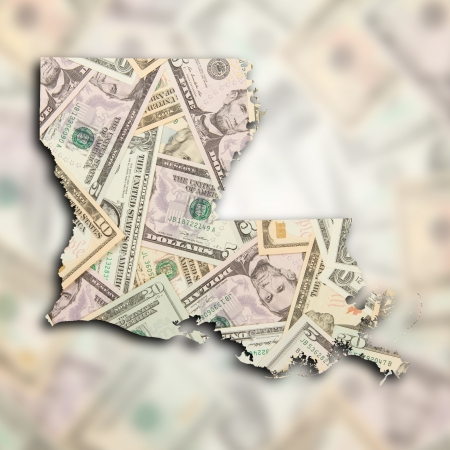 Map of Louisiana, filled with US dollars photo
