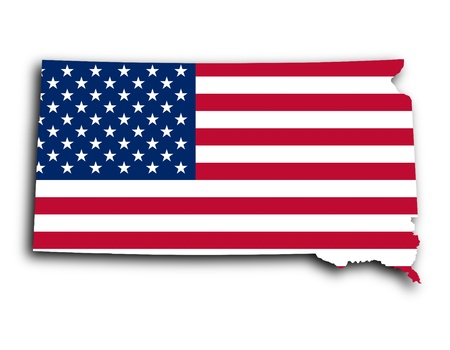 Map of South Dakota, filled with the national flag photo