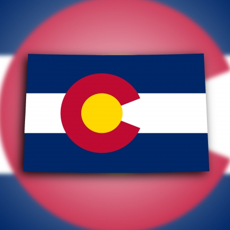 Map of Colorado, filled with the state flag photo