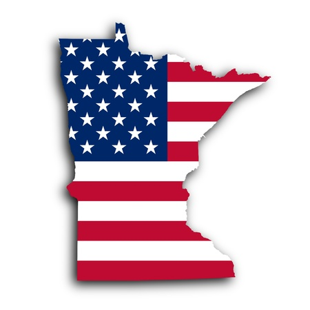 Map of Minnesota, filled with the national flag photo