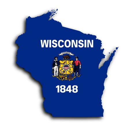 wisconsin flag: Map of Wisconsin, filled with the state flag Stock Photo