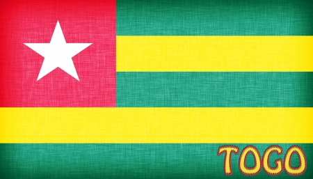 togo: Linen flag of Togo with letters stiched on it Stock Photo