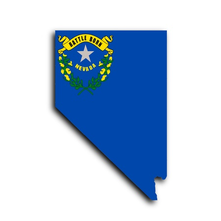 Map of Nevada  filled with the state flag photo