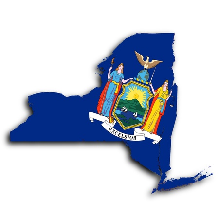 albany: Map of New York  filled with the state flag Stock Photo