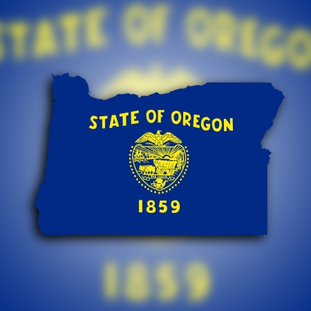 Map of Oregon filled with the state flag photo
