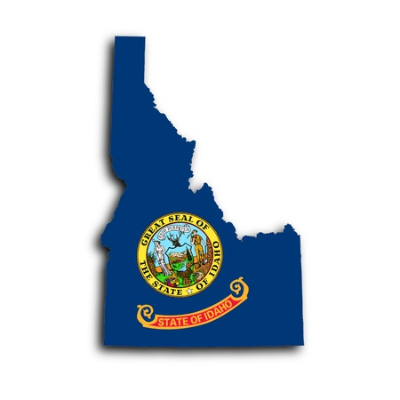 idaho state: Map of Idaho filled with the state flag