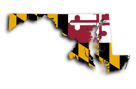 Map of Maryland filled with the state flag photo