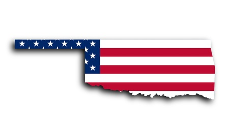 Map of Oklahoma filled with the national flag photo