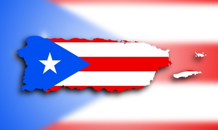 puerto rican: Map of Puerto Rico filled with the state flag