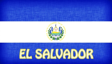 el salvador: Linen flag of El Salvador with letters stitched on it