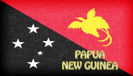 papua: Linen flag of Papua New Guinea with letters stitched on it Stock Photo