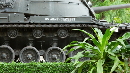 patton: Old M48 Patton tank on display in a museum in Saigon (Vietnam)