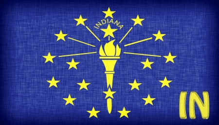 indiana: Linen flag of the US state of Indiana with its abbreviation stitched on it