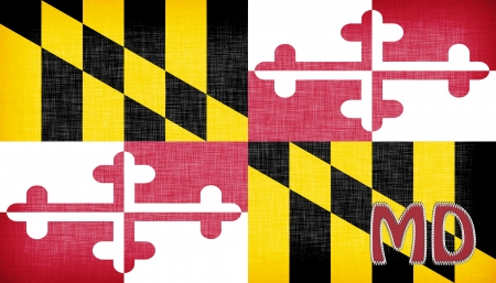 Linen flag of the US state of Maryland with its abbreviation stitched on it photo