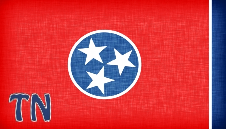 tn: Linen flag of the US state of Tennessee with its abbreviation stitched on it