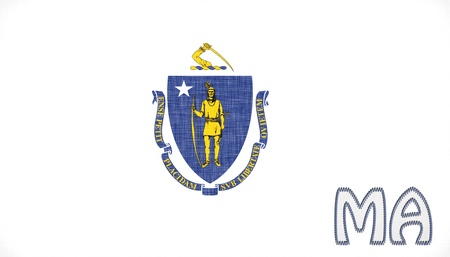 Linen Flag Of The US State Massachusetts With Its Abbreviation Stitched On It Stock Photo