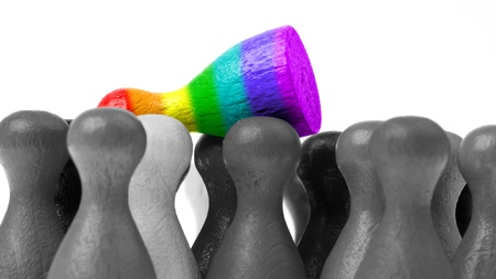 pion: Outcast pawn, pawn in the colors of the rainbow flag