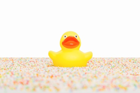 Rubber duck isolated, sitting on colorful candy Stock Photo - 19246176