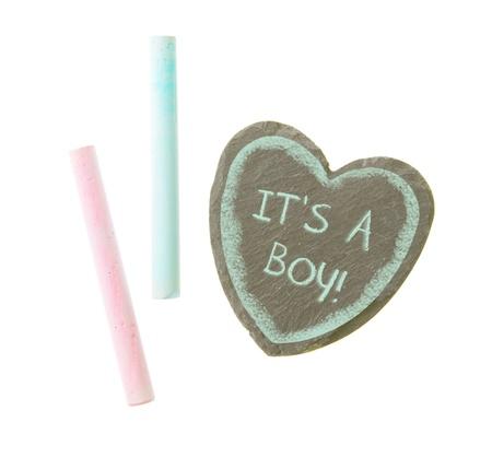 its a boy: Heart shaped piece of slate over white, its a boy