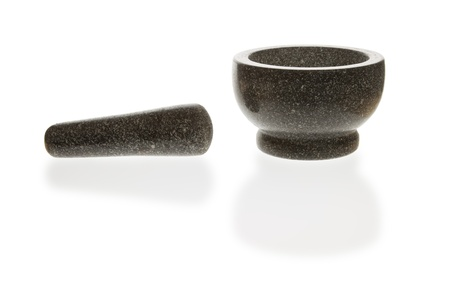 Stone mortar with reflection on white background photo