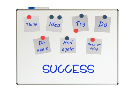 Whiteboard with recipe to success, isolated on white Stock Photo - 19321549