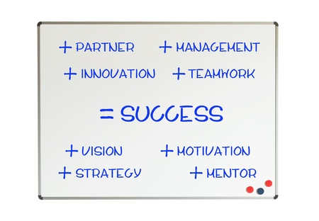 Whiteboard with recipe to success, isolated on white Stock Photo - 19321552