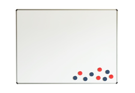 Large whiteboard with magnets isolated on a white background photo