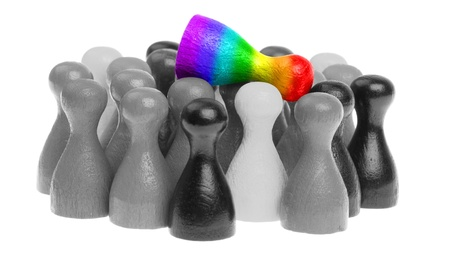 Outcast pawn, pawn in the colors of the rainbow flag