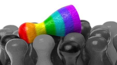 Outcast pion, pion dans les couleurs du drapeau arc-en- Banque d'images