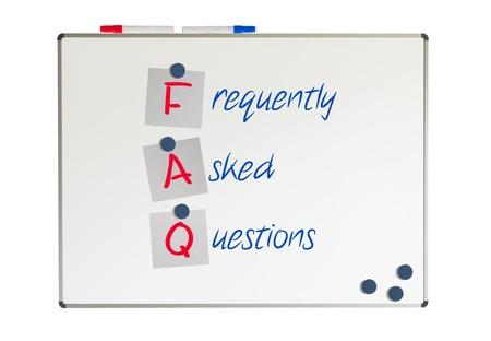 FAQ written on a whiteboard, isolated on white Stock Photo - 19321643