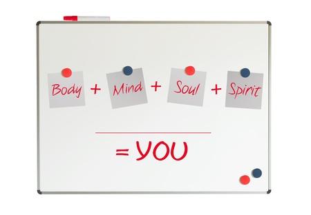 crecimiento personal: T?, cuerpo, mente, alma, esp?ritu - un mapa mental simple para el crecimiento personal Foto de archivo