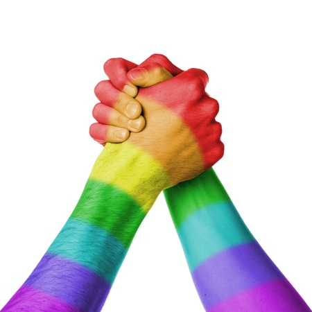 hombres gays: Hombre y mujer en wrestlin brazo, fondo blanco, modelo de la bandera del arco iris