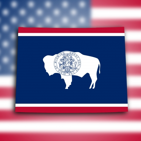 Map of Wyoming, filled with the state flag photo