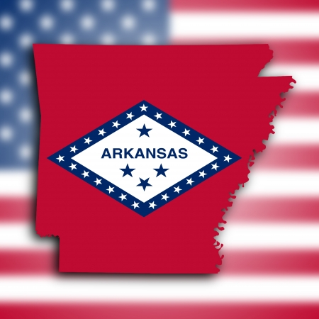 Map of Arkansas, filled with the state flag photo