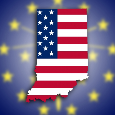 Map of Indiana, filled with the national flag photo