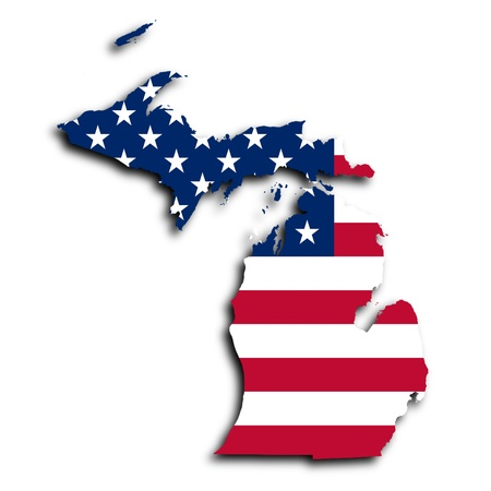michigan state: Map of Michigan, filled with the national flag