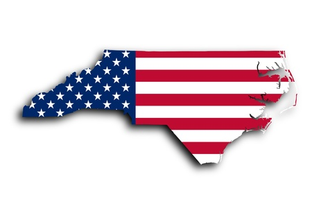Map of North Carolina, filled with the national flag photo