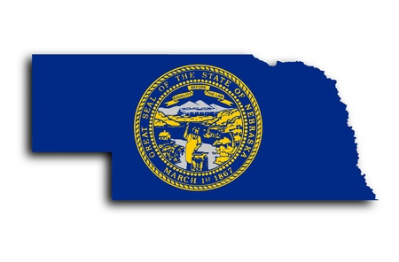 Map of Nebraska filled with the state flag photo