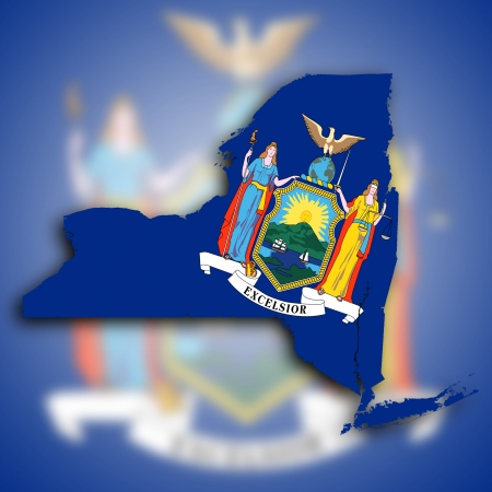 excelsior: Map of New York  filled with the state flag Stock Photo