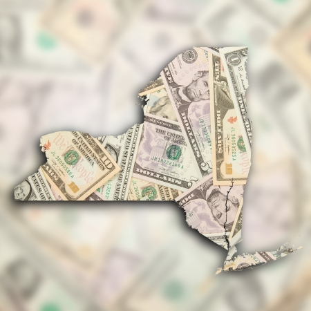 albany: Map of New York filled with US dollars