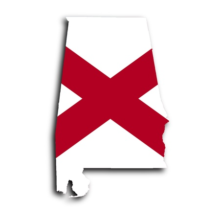 america flag: Map of Alabama filled with the state flag Stock Photo