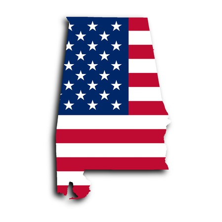 Map of Alabama filled with the national flag photo