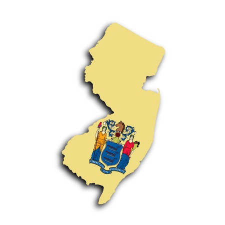 Map of New Jersey filled with the state flag photo
