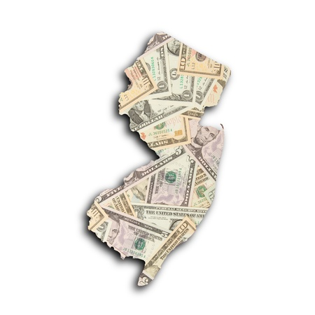 Map of New Jersey filled with US dollars photo