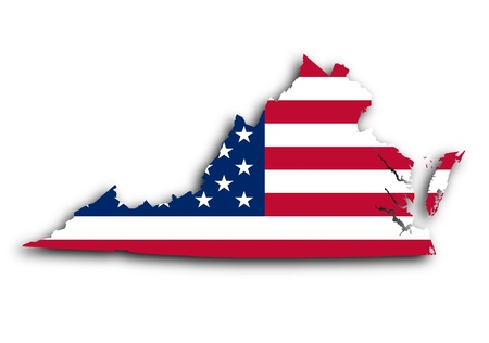 Map of Virginia filled with the national flag Stock Photo