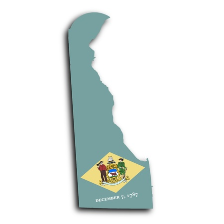 Map of Delaware filled with the state flag photo