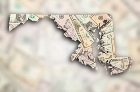 maryland: Map of Maryland filled with US dollars Stock Photo